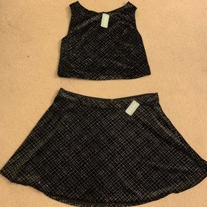 Crop top and high waisted skirt set